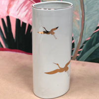 Vintage Takahashi Hand Decorated in Gold Crane Vase