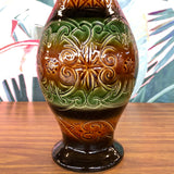 Retro Etched Orange/Green Vase