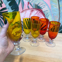 Set of 6 Orange/Yellow Glasses