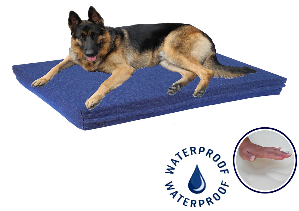 "Solid Memory Foam Bed with Waterproof Denim (Available in 25"" to 55"")"