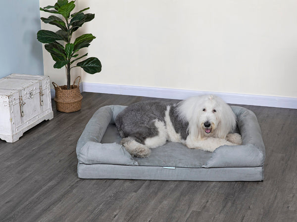 Go Pet Club Memory Foam Pet Dog Bed with Bolster and Removable Waterproof cover – Available in Multiple colors and Styles