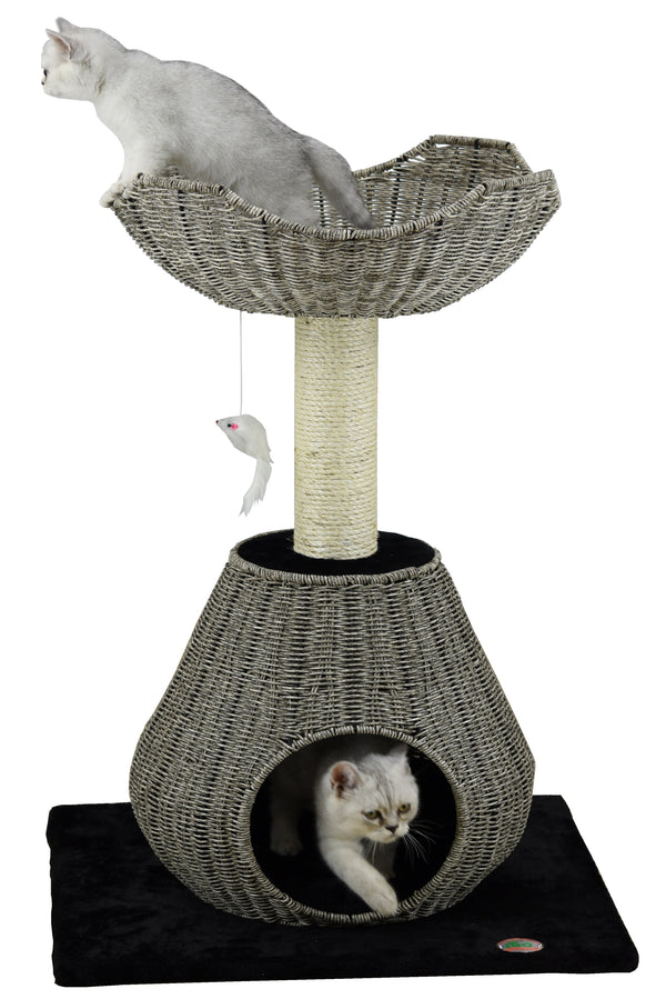 "35"" Rattan Wicker Cat Tree (SF085)"