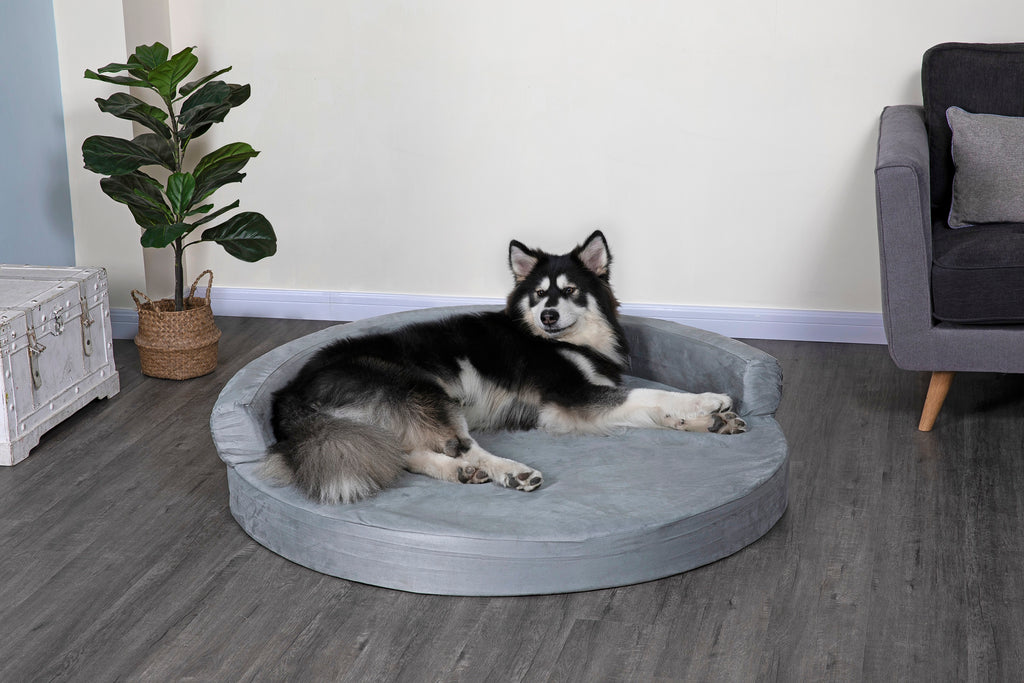 Go Pet Club Round Memory Foam Pet Dog Bed with Bolster and Removable Waterproof cover – Available in Multiple Colors and Styles