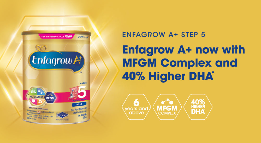Enfagrow A+ step 5 milk formula tin on golden background