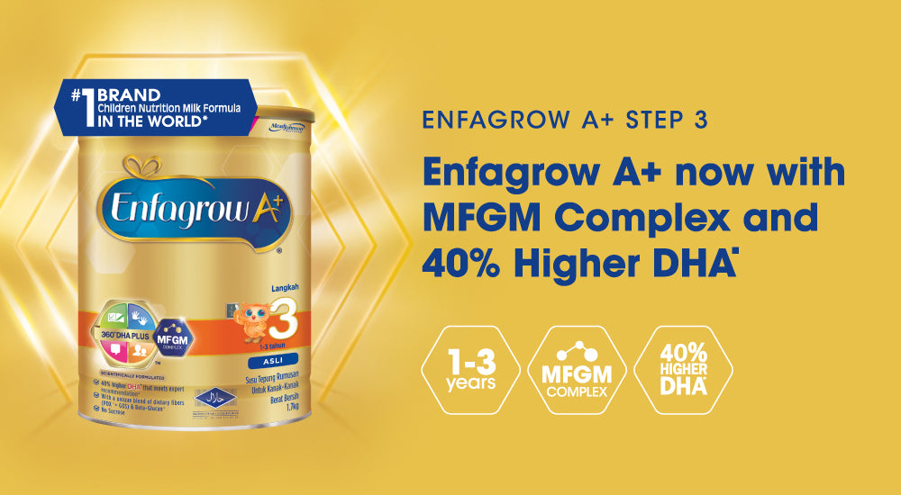 Enfagrow A+ step 4 milk formula tin on golden background