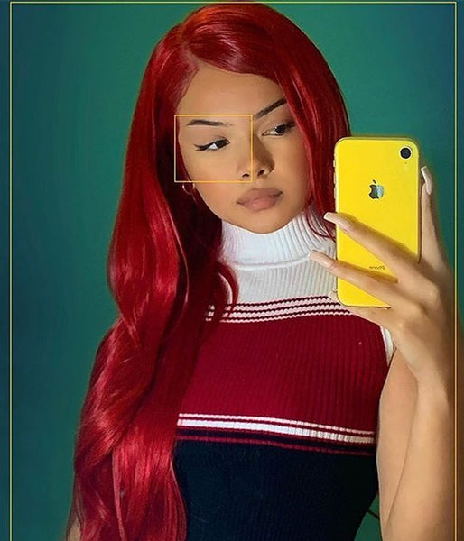 Devil's Red Synthetic Lace Front Wig - Baskley