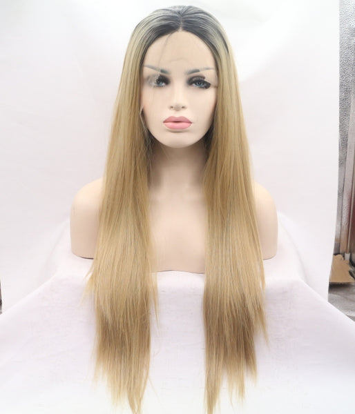 Golden Grunge Synthetic Lace Front Wig - Baskley