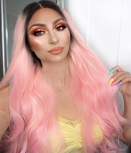 Blush Pink Synthetic Lace Front Wig - Baskley