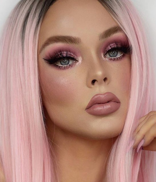 Barbie Pink Synthetic Lace Front Wig - Baskley