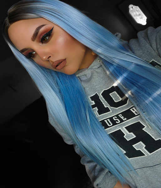 Blue Lagoon Synthetic Lace Front Wig - Baskley