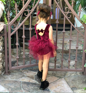 READY TO SHIP - Plain Velvet Playsuit + Bow Set