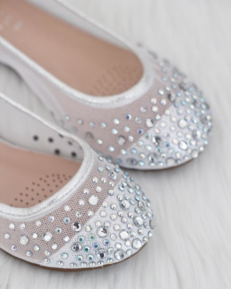 Silver Mesh Rhinestone Shoes with Tulle Straps