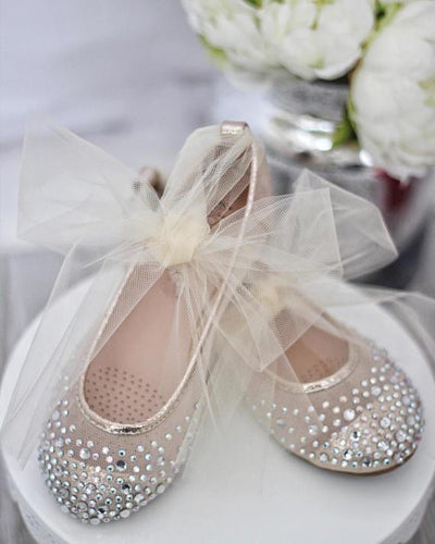 Ivory and Gold Mesh Rhinestone Shoes with Tulle Straps