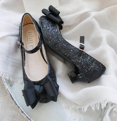 Rock Glitter Maryjane Kitten Heels with Grosgrain Bow