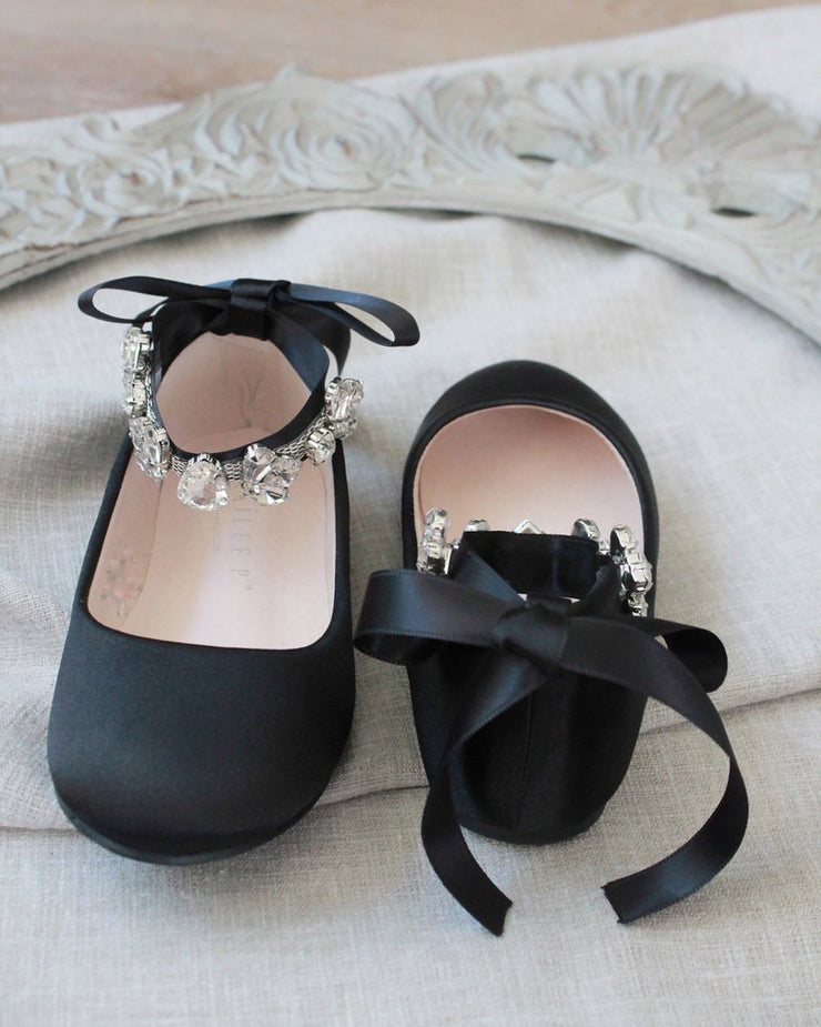 Black Satin Ballet Flats with Cluster Rhinestones