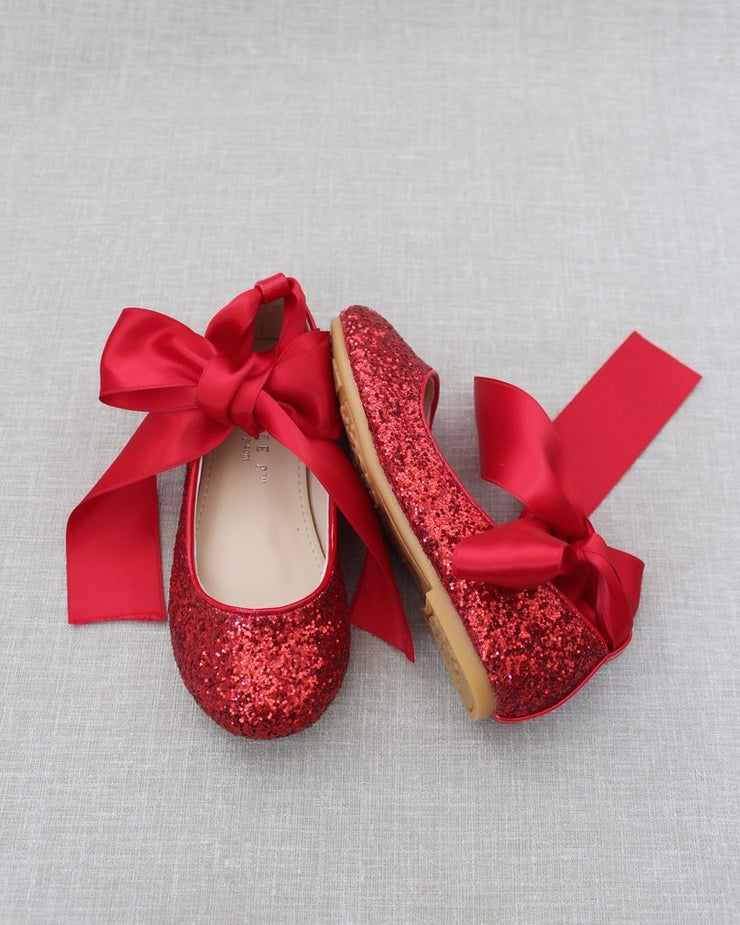 Red Rock Glitter Ballet Flats with Satin Ankle Strap