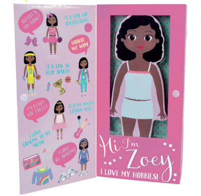 Zoey Magnetic Dress Up Wooden Doll