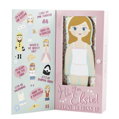 Elsie Magnetic Dress Up Wooden Doll - Floss + Rock