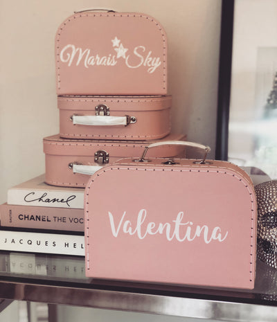 Set of pink luggage boxes