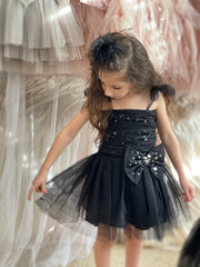 Stardust Bow Dress - Black