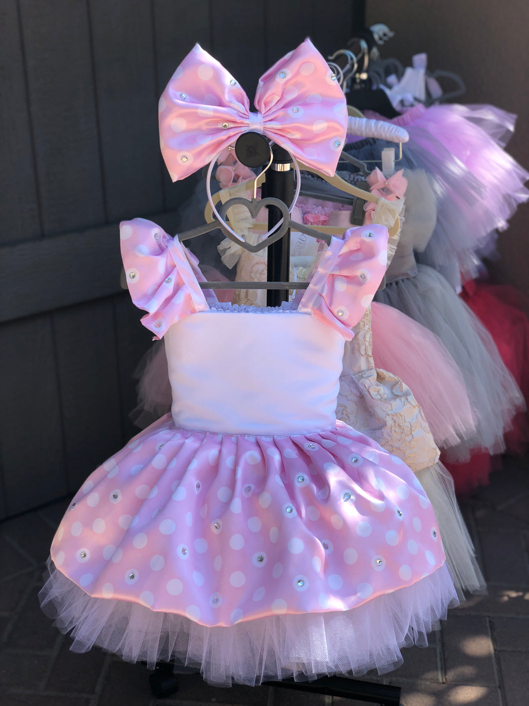 Sparkle Couture Minnie Mouse Dress - Baby Pink