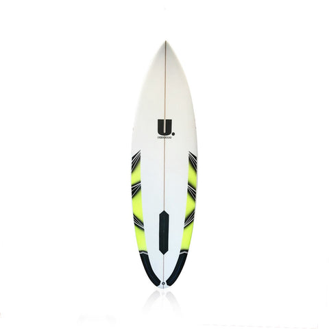 High Performance Roundtail Surfboard 5'10 White/Yellow