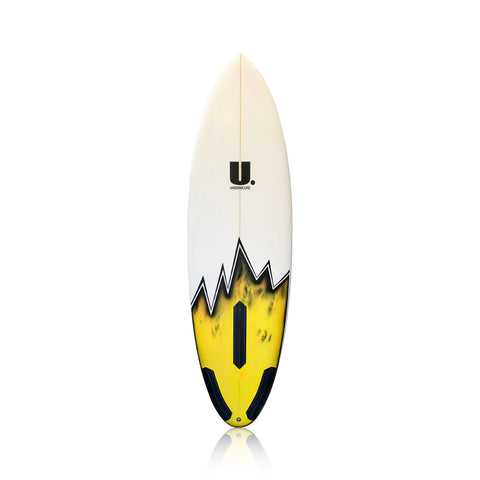 High Performance Roundtail Surfboard 5'11 White/Yellow