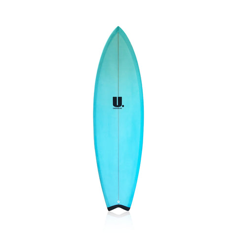 Hybrid Twin Fin Surfboard 5'4 Blue