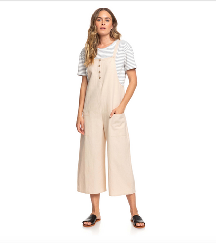 Roxy Womens Naturally Pretty Strappy Linen Jumpsuit