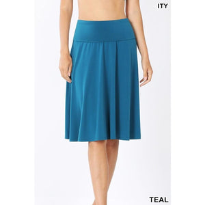 NEW! A-Line Flared Skirt with Fold Over Waist Band Skirts