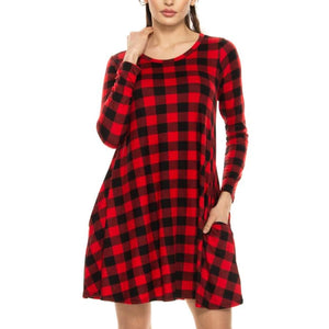Checker Print Long Sleeve Dress With Pockets - Leggings Material! S / Red/black Dresses