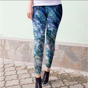 Preorder Custom Abalone Print Leggings in Full and Capri Lengths! ETA early January! OS Leggings