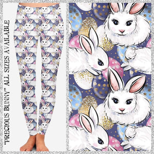 Custom Design Yoga Band Leggings/Joggers/Shorts! In Stock! Glitter Bunny / Kids S/M Leggings
