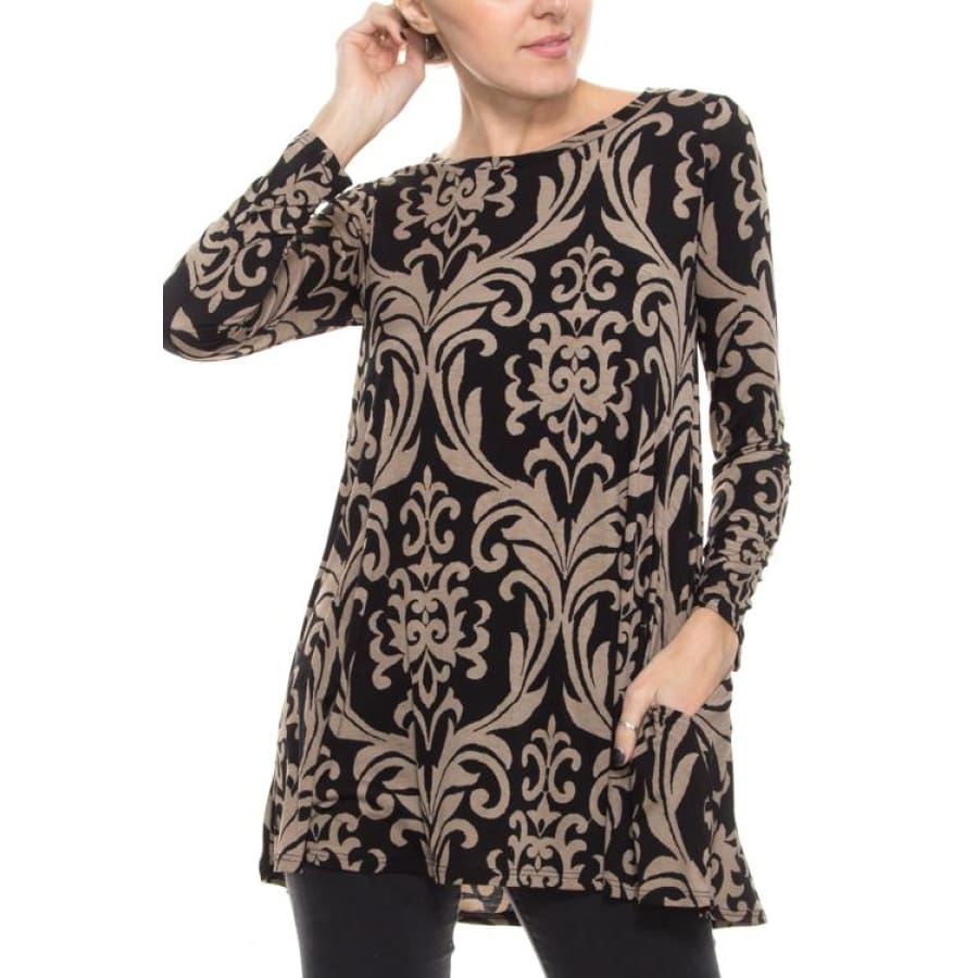 Damask Print 3/4 Sleeve Dress With Pockets Dresses