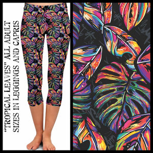PREORDER CLOSES 15 FEB - Custom Design Yoga Band Leggings - SHIPPING APRIL TC Capri / Tropical Leaves Leggings