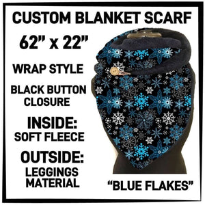 PREORDER Custom Blanket Scarf matching dog scarf too! Closes 15 OCT ETA early January Blue Flakes / Adult Scarf