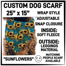 PREORDER Custom Blanket Scarf matching dog scarf too! Closes 15 OCT ETA early January Sunflowers / Dog Scarf