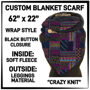 PREORDER Custom Blanket Scarf matching dog scarf too! Closes 15 OCT ETA early January Crazy Knit / Adult Scarf