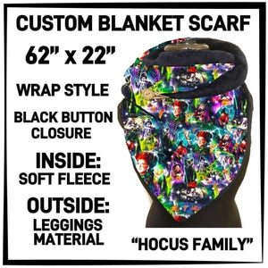 PREORDER Custom Blanket Scarf matching dog scarf too! Closes 15 OCT ETA early January Hocus Family / Adult Scarf