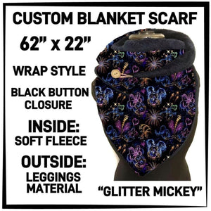 PREORDER Custom Blanket Scarf matching dog scarf too! Closes 15 OCT ETA early January Glitter Mickey / Adult Scarf