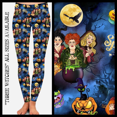 Halloween Custom Leggings! Preorder CLOSES 12 June - SHIPPING LATE AUGUST! OS / Three Witches Leggings