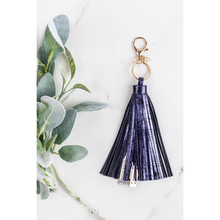 Hiss & Hers Tassel Keychain with Phone Charging Cable Navy Snakeskin Earrings