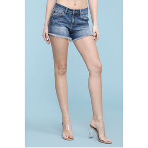 Judy Blue Denim Cutoff Shorts - Dark Blue Denim Skirt