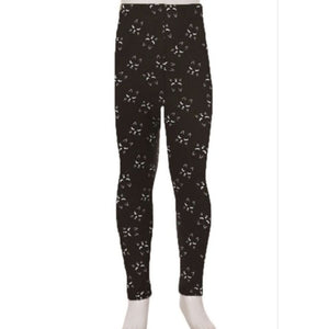 Kids Leggings High Waisted Full Length S/M / Black Cat Print Kids Leggings