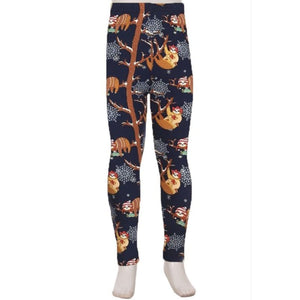 Kids Leggings High Waisted Full Length S/M / Sloth Kids Leggings