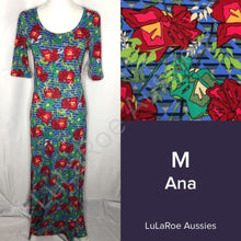 LuLaRoe Ana M / Blue with Stripes and Red Geo Floral Dresses