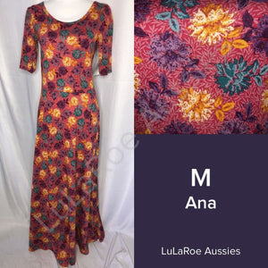 LuLaRoe Ana M / Dark Rose with Yellow Purple Green floral Dresses