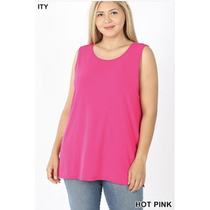 NEW! ITY Sleeveless Round Top Hot Pink / 1XL Tops
