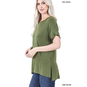 NEW! Luxe Modal Short Cuff Sleeve Boat Neck Top with High-Low Hem Ash Olive / S Tops