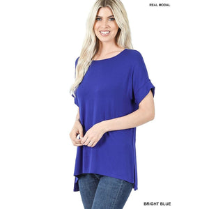 NEW! Luxe Modal Short Cuff Sleeve Boat Neck Top with High-Low Hem Bright Blue / S Tops
